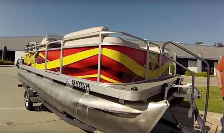 Example of a vinyl wrap for a pontoon boat