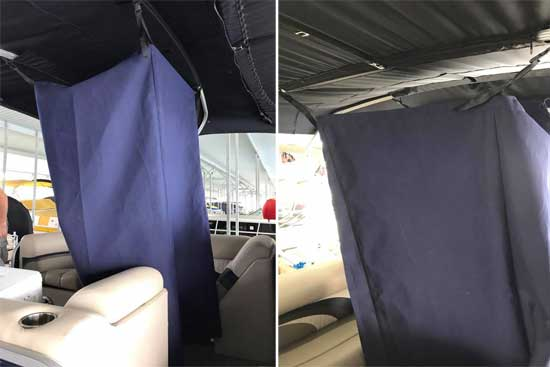 DIY pontoon changing room curtain