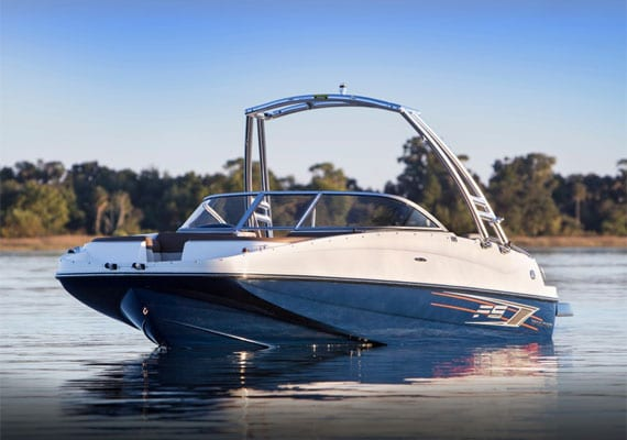 The Bayliner 195 deck boat.