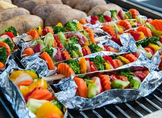 veg kabobs are ideal pontoon grill ideas