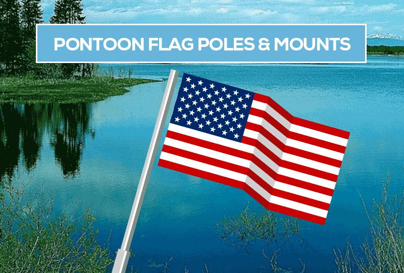 """PONTOON RAIL MOUNT FLAG KIT-Pontoon Flag Pole Kit w//24/"""" Pole 12/"""" x 18/"""" US Flag"""