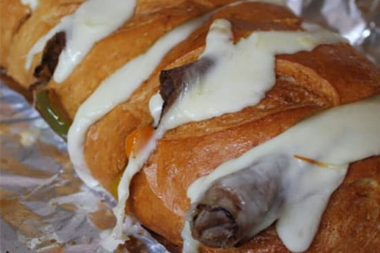 Philly cheesesteak loaf sandwich