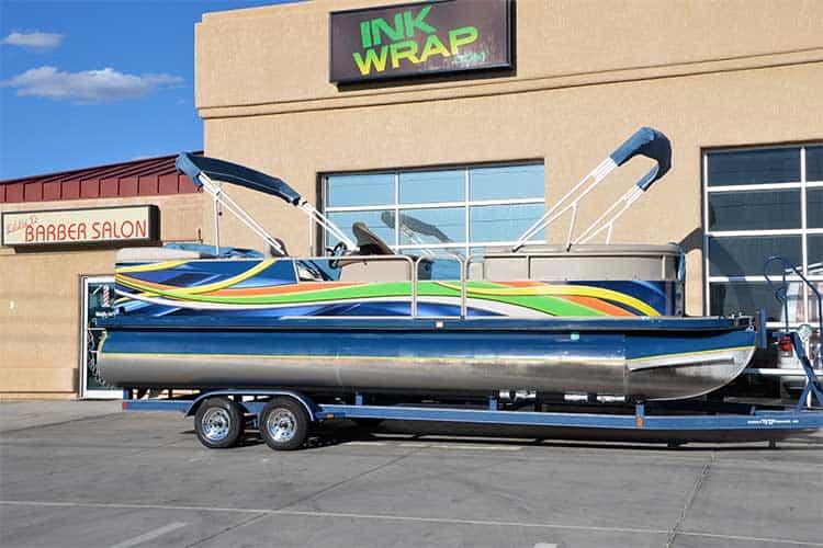 Ink wrap pontoon boat